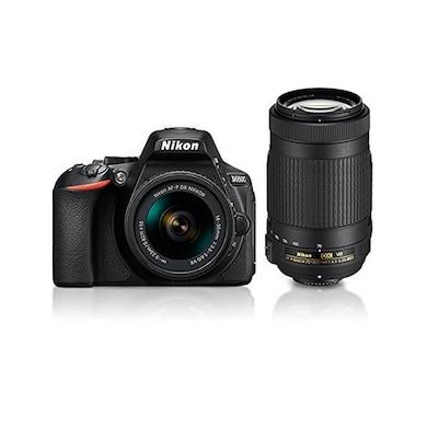 Nikon D5600 DSLR Camera with Dual Lens:AF-P 18-55mm+AF-P 70-300mm VR Kit+16 GB Card+Camera Bag Black Price in India