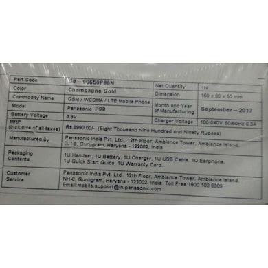 Panasonic P99 (Blue, 2GB RAM, 16GB) Price in India