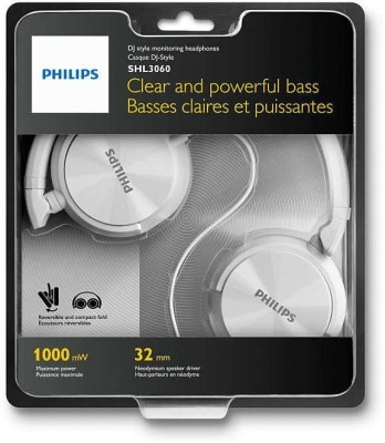 Philips SHL3060 Stereo Dynamic Wired Headphone White Price in India