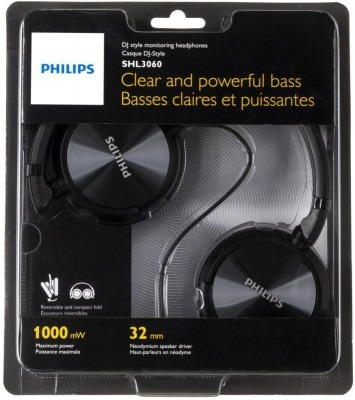 Philips SHL3060 Stereo Dynamic Wired Headphone Black Price in India
