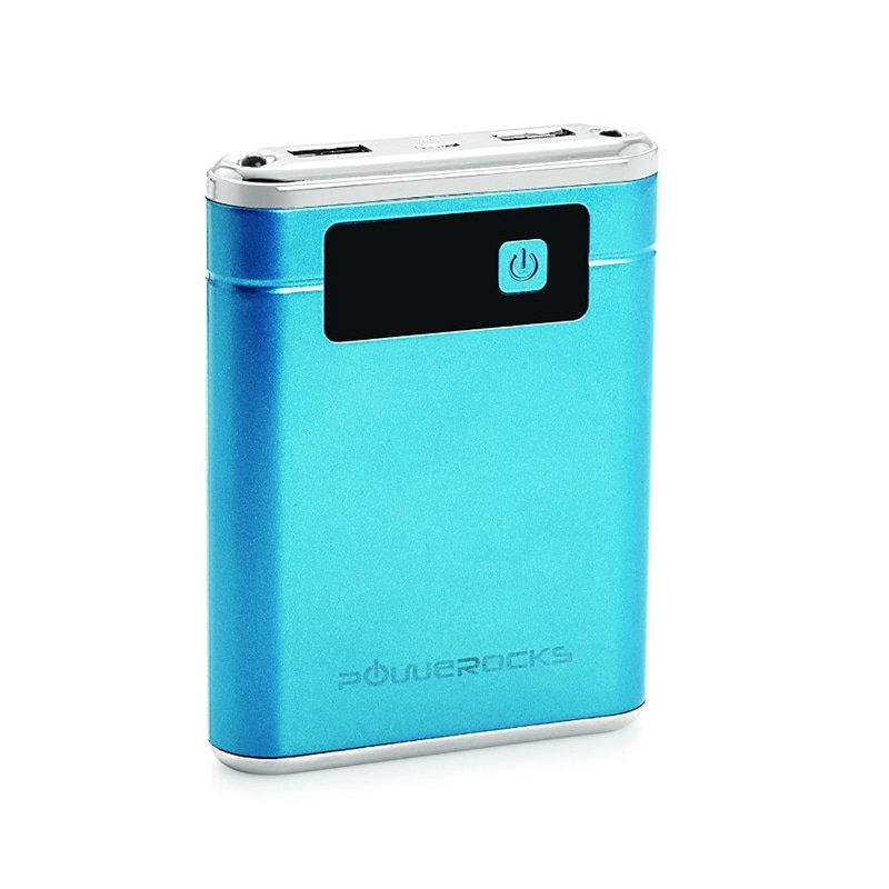 Powerocks AXIS 100 10000 mAh Power Bank Charger with Display and Dual Light Blue and Silver