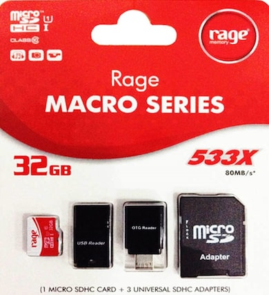 Rage 32 GB Class 10 MicroSDHC 4 in 1 Memory Card (Red & White) Price in India
