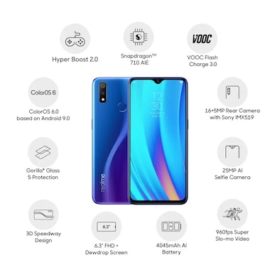 Refurbished Realme 3 Pro (Nitro Blue, 4GB RAM, 64GB) Price in India