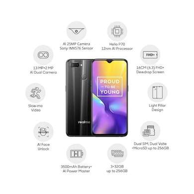Realme U1 (Ambitious Black, 3GB RAM, 32GB) Price in India
