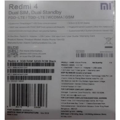 Redmi 4 (Black, 3GB RAM, 32GB) Price in India