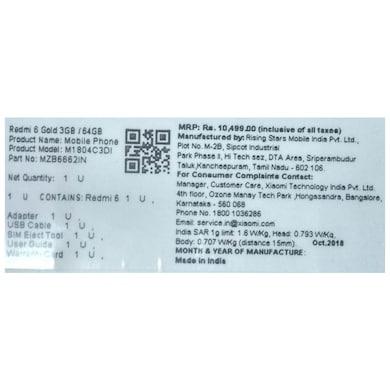 Redmi 6 (Blue, 3GB RAM, 64GB) Price in India