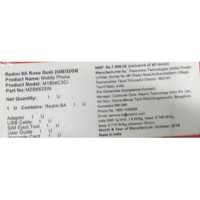 Redmi 6A (Blue, 2GB RAM, 32GB) Price in India