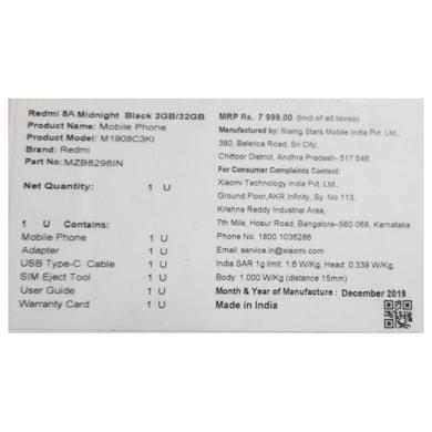 Redmi 8A (Midnight Black, 2GB RAM, 32GB) Price in India