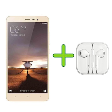 Refurbished Redmi Note 3 +Free Earphone with Mic for All Android/iPhones (Gold, 2GB RAM, 16GB) Price in India
