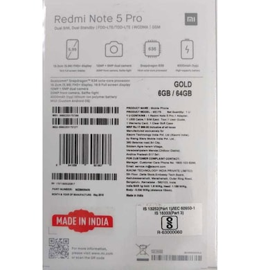 Redmi Note 5 Pro (Gold, 6GB RAM, 64GB) Price in India