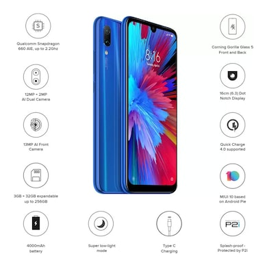 Redmi Note 7 (Sapphire Blue, 3GB RAM, 32GB) Price in India