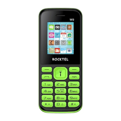 Rocktel W9 Digital Camera, FM, Bluetooth and Dual Sim (Black and Green) Price in India