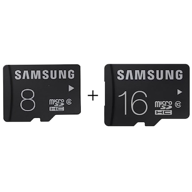 Samsung Bundle of 8 GB Class 6 and 16 GB Class 10 MicroSDHC Memory Card Black Price in India