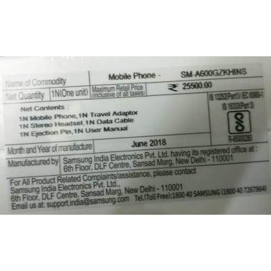 Samsung Galaxy A6 (Gold, 4GB RAM, 64GB) Price in India