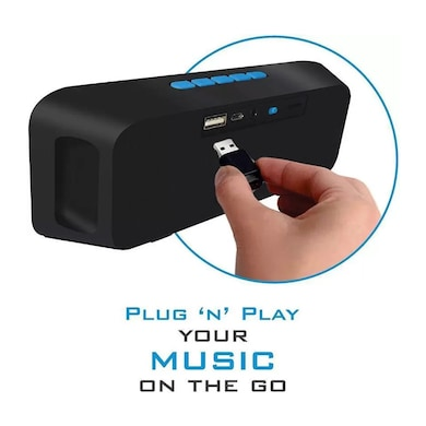 SBA Entice Bluetooth Speaker (TF, FM, USB, AUX, Stereo) Blue Price in India