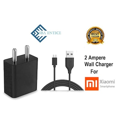 SBA Entice Fast Mobile Charger 2 AMP Adapter With Data Cable For Redmi/Mi Black Price in India