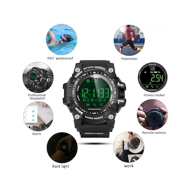 ShutterBugs EX-16 Fitness Smartwatch Ideal For Unisex (Strap 1.12) Black Price in India