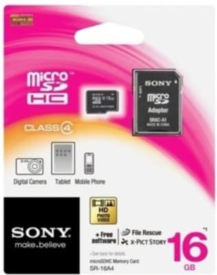 Sony 16 GB SR-16A4 Class 4 MicroSDHC Memory Card With Adaptor 16 GB Price in India