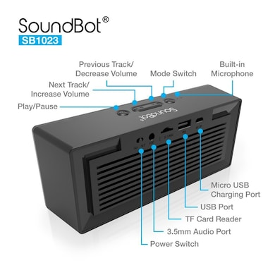 SoundBot SB1023 Bluetooth FM Radio Alarm Clock Bluetooth Speaker Black Price in India