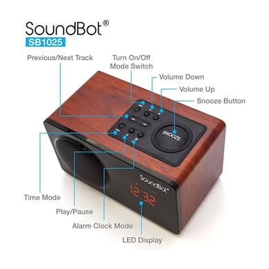 SoundBot SB1025 Bluetooth Speaker with FM Radio and Alarm Clock Black Price in India