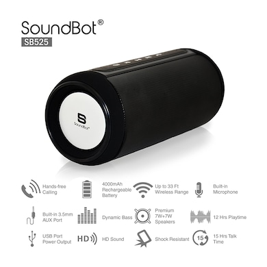 SoundBot SB525 4.0 Wireless Bluetooth Speaker with Hands-Free Calling, Built-in Mic Black Price in India