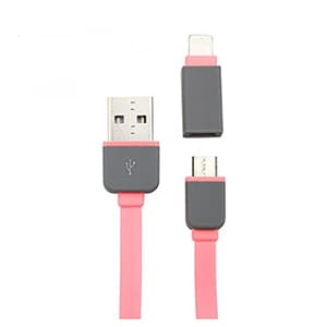 Spider Designs SD-100 Micro USB & Lightning 2 In 1 Cable Pink