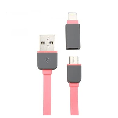 Spider Designs SD-100 Micro USB & Lightning 2 In 1 Cable Pink images, Buy Spider Designs SD-100 Micro USB & Lightning 2 In 1 Cable Pink online at price Rs. 249