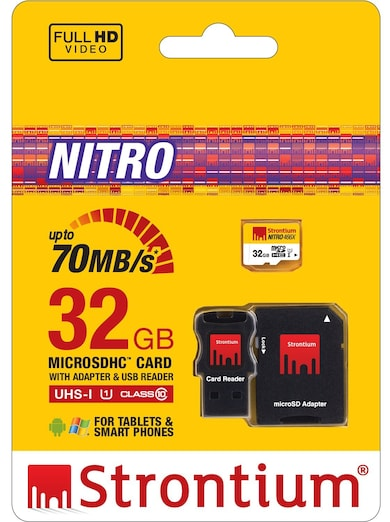 Strontium Nitro 32 GB Class 10 MicroSDHC Memory Card with Adapter and Card Reader 32 GB Price in India