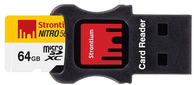 Strontium Nitro 64 GB Class 10 MicroSDXC Memory Card with Adapter and Card Reader 64 GB Price in India