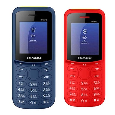Tambo P1870 Combo Of Two Mobile (Blue and Red) Price in India