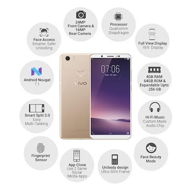 Vivo V7+ (Champagne Gold, 4GB RAM, 64GB) Price in India