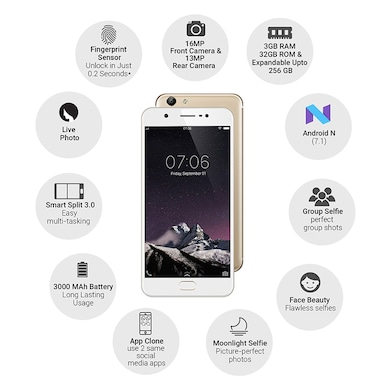 Vivo Y69 (3 GB RAM, 32 GB) Gold images, Buy Vivo Y69 (3 GB RAM, 32 GB) Gold online at price Rs. 11,399