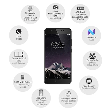 Vivo Y69 (Matte Black, 3GB RAM, 32GB) Price in India