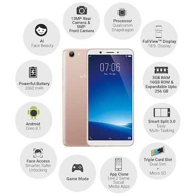 Vivo Y71 (Gold, 3GB RAM, 16GB) Price in India