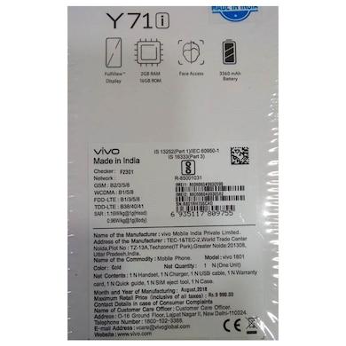 Vivo Y71i (Gold, 2GB RAM, 16GB) Price in India