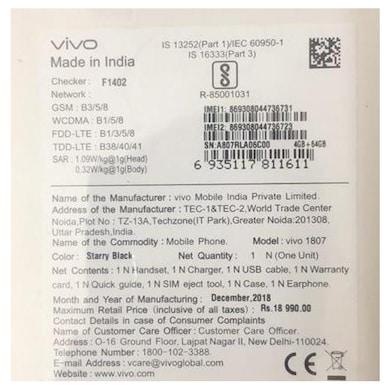 Vivo Y95 (Starry Black, 4GB RAM, 64GB) Price in India