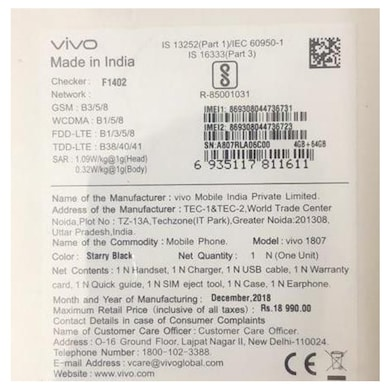 Vivo Y95 (Starry Black, 4GB RAM, 64GB) Price in India