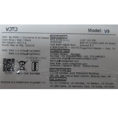 Voto V9 (Black, 3GB RAM, 32GB) Price in India