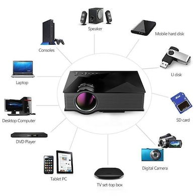 VOX VP03 High Quality 130 inch Screen LED Home Cinema Projector with WiFi Black images, Buy VOX VP03 High Quality 130 inch Screen LED Home Cinema Projector with WiFi Black online at price Rs. 5,499