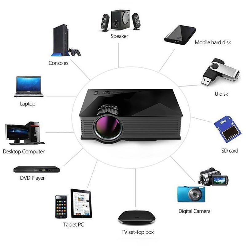 VOX VP03 High Quality 130 inch Screen LED Home Cinema Projector with WiFi Black images, Buy VOX VP03 High Quality 130 inch Screen LED Home Cinema Projector with WiFi Black online at price Rs. 5,899