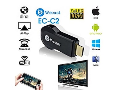 Wecast HDMI 1080P TV Stick Miracast DLNA WiFi Display Receiver for iOS, Android and Windows (Black) Price in India