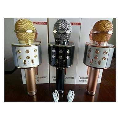 WS-858 Rechargeable Wireless Karaoke Bluetooth Microphone With Inbuilt Speaker with Audio Recording Assorted Price in India