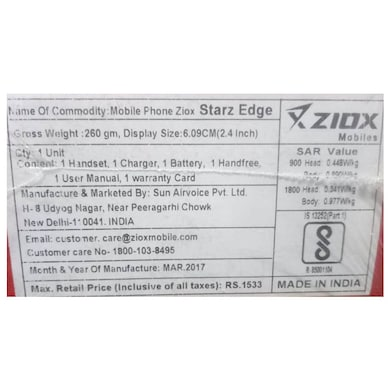 Ziox Starz Edge Plus,2.8 Inch Bright Display,Torch,FM (Black and Red) Price in India
