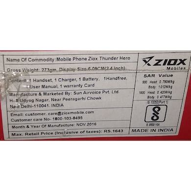 Ziox Z23,1.8 Inch Display,Camera,Dual Sim (Black and Red) Price in India