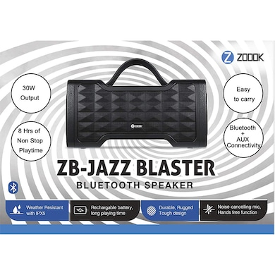 Zoook Jazz Blaster 30W Bluetooth Speaker with Aux in/ Handsfree Calling/ IPX5 Splashproof Black Price in India