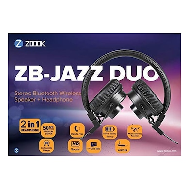 2b1c6488d78 ... Zoook Jazz Duo 2 in 1 Bluetooth Headphone+Speaker with Music Sharing  Black Price in ...