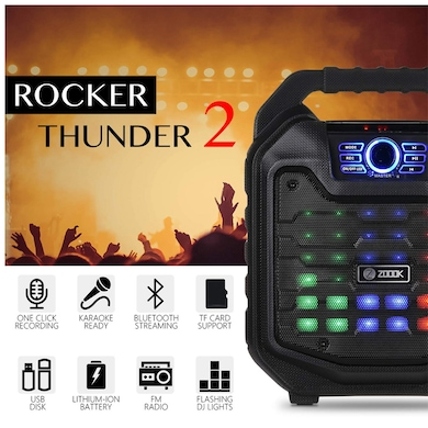 Zoook Rocker Thunder 2 30 watts Karaoke Bluetooth Speaker with Remote and Wired Mic Black Price in India
