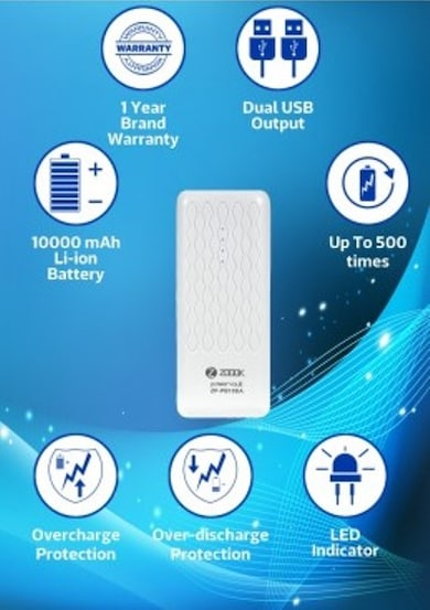 Zoook ZP-PB10DA 10000 mAh Portable Powerbank White Price in India