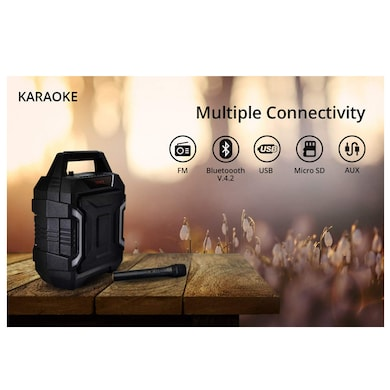 Zync Karaoke 32W Wireless Portable Bluetooth Speaker with Wireless Mic Black Price in India
