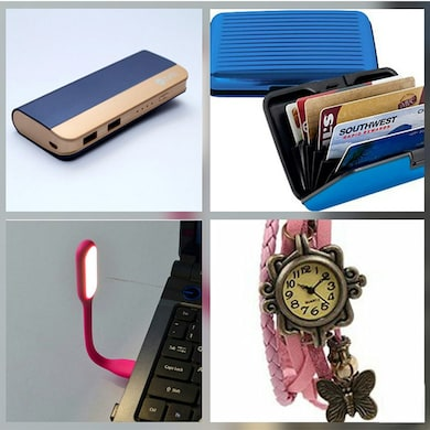 Zync PB999 Power Bank 10400 mAh with Combo of Watch, Card Holder, USB LED Light Navy Blue (Color may Vary) Price in India
